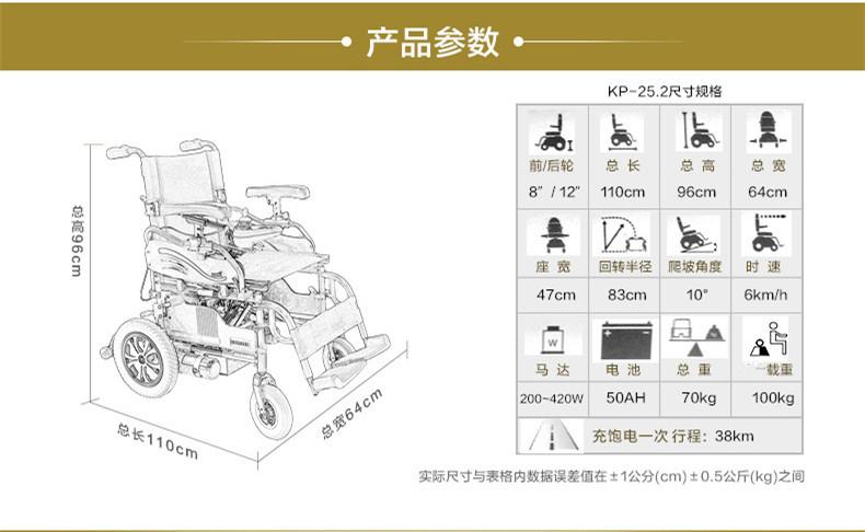 康扬KP25.2电动轮椅参数